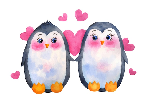 Süßes pinguinpaar des valentinstags des aquarells Premium Vektoren