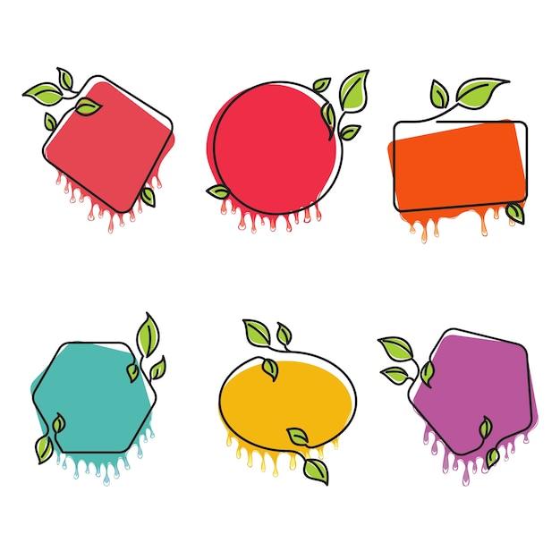 Süßes rahmen-natur-aufkleber-schmelzendes tropfen lokalisiert Premium Vektoren