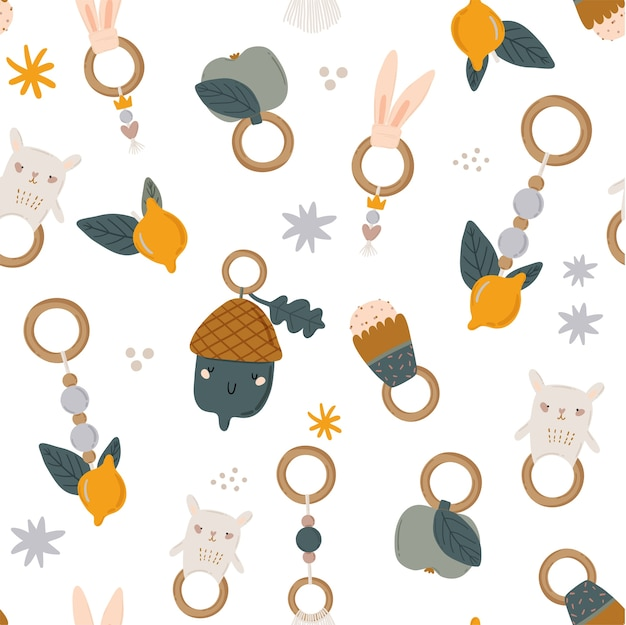 Süßes skandinavisches nahtloses muster der kinder mit lustigen tieren, mobiles kinderspielzeug Premium Vektoren