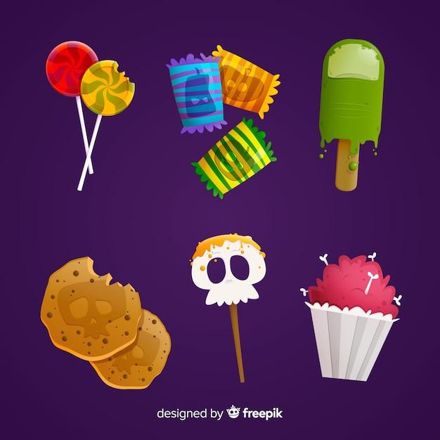Süßes sonst gibt's saures süßes für halloween auf purpurrotem hintergrund Kostenlosen Vektoren