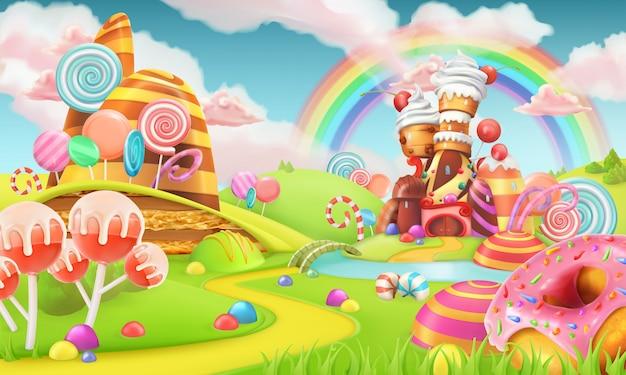 Süßes süßigkeitenland. cartoon-spielvektorillustration Premium Vektoren