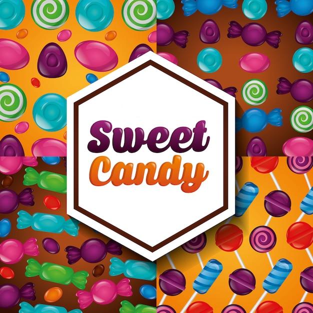 Süßes süßigkeitmuster Kostenlosen Vektoren