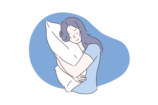 Süßes traum- oder schlafkonzept. Premium Vektoren