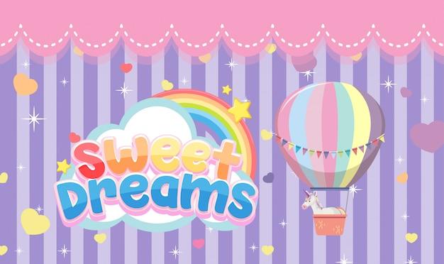 Süßes traumlogo mit heißluftballon auf lila streifenhintergrund Premium Vektoren