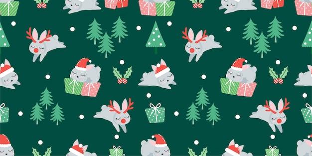 Süßes weihnachten winter kaninchen nahtlose muster Premium Vektoren