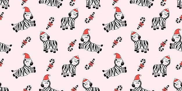 Süßes weihnachten winter zebra nahtlose muster Premium Vektoren