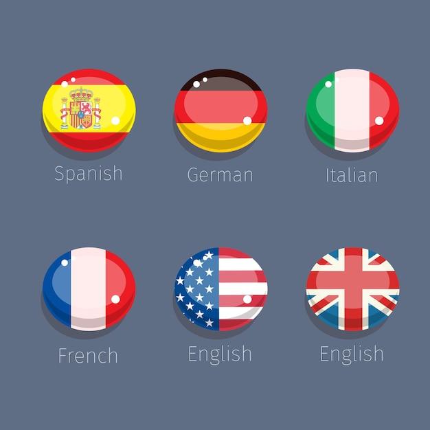 Süßigkeit der sprache, sprachikonen mit länderflaggen. Premium Vektoren