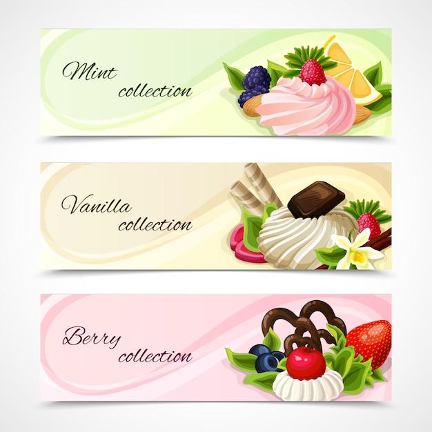 Süßigkeiten banner horizontale reihe Premium Vektoren
