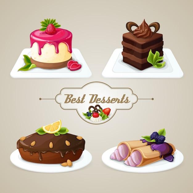 Süßigkeiten dessert set Premium Vektoren