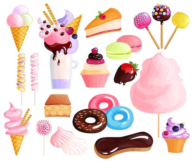 Süßigkeiten desserts elementsatz Kostenlosen Vektoren