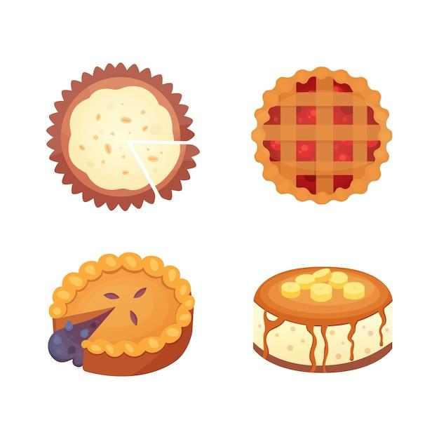 Süßigkeiten desserts objekte sammlung, erdbeerkuchen, obst und beeren süße kuchen mit sahne. hausgemachte bäckerei kuchen dessert torte set. Premium Vektoren