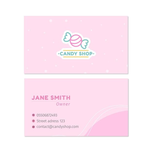Süßigkeiten doppelseitige visitenkarte h Premium Vektoren