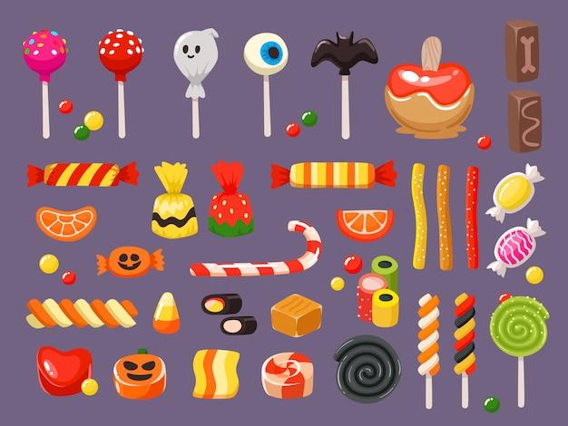 Süßigkeiten, fledermaus lutscher und süßigkeiten lakritz butterscotch set Premium Vektoren