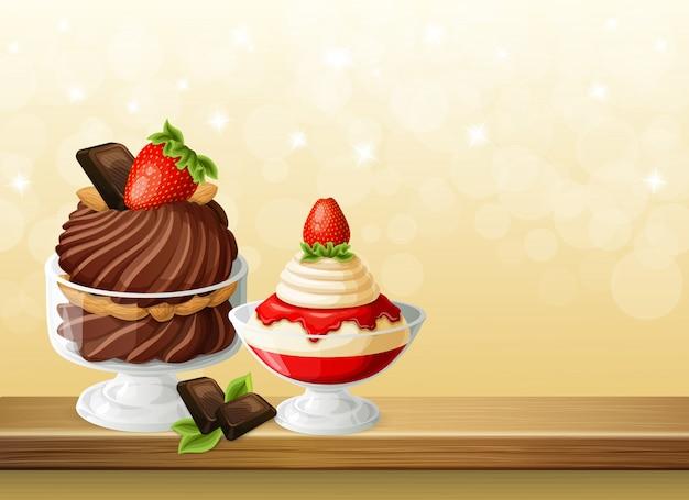 Süßigkeiten in glasschüsseln zusammensetzung Kostenlosen Vektoren