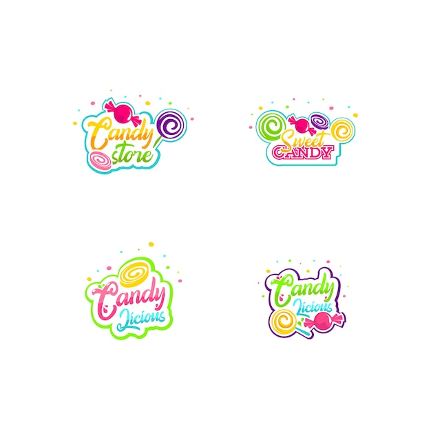 Süßigkeiten-logo-set Premium Vektoren