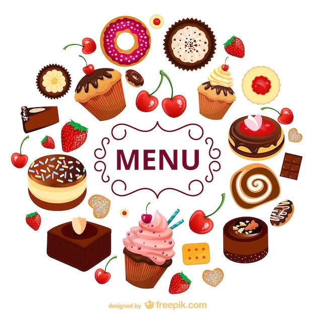 Süßigkeiten menü vektor vorlage Kostenlosen Vektoren