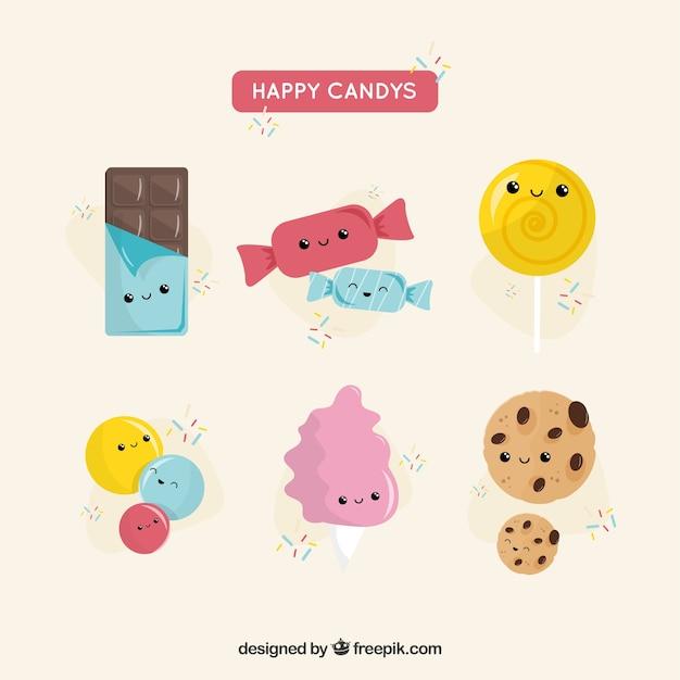 Süßigkeiten sammlung mit niedlichen gesichtern Kostenlosen Vektoren