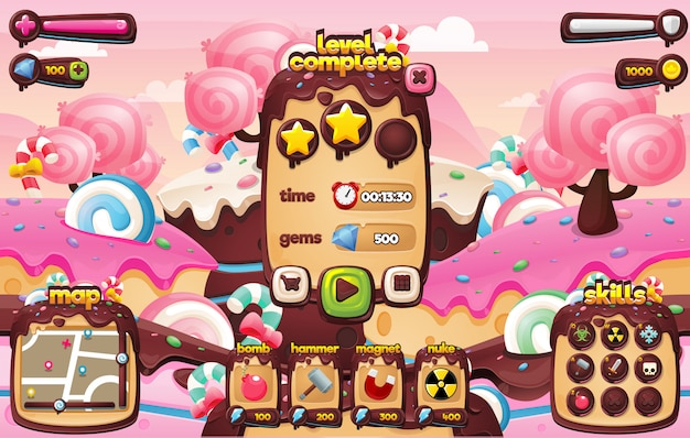 Süßigkeiten spiel gui Premium Vektoren