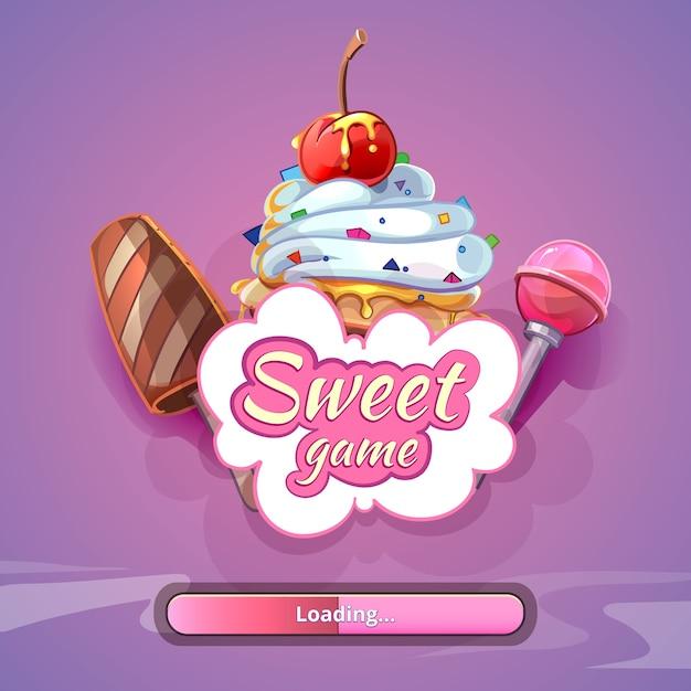 Süßigkeiten-weltspiel mit titelnamen. süße designkunst, fantastischer lutscher Kostenlosen Vektoren