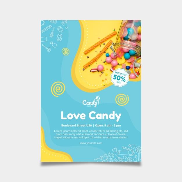 Süßigkeitenplakatschablone Kostenlosen Vektoren