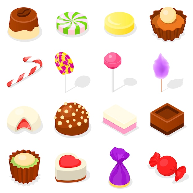 Süßigkeitsikonensatz, isometrische art Premium Vektoren