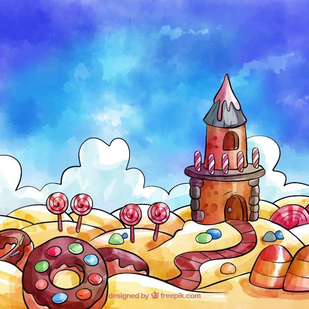 Süßigkeitslandhintergrund in der aquarellart Kostenlosen Vektoren