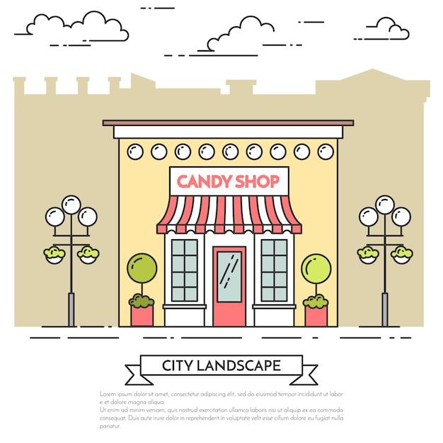 Süßigkeitsshop, café mit lampen, blumen auf stadthintergrund. vektor-illustration linie kunst. Premium Vektoren