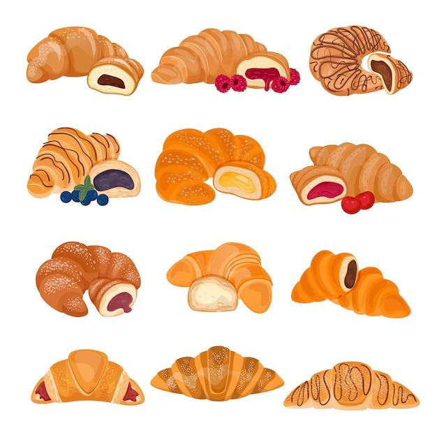 Süßspeise-gebäckbrötchen des französischen lebensmittels des hörnchens zum frühstücksillustrations-bäckereisatz des köstlichen snacks des geschmackvollen brotbagels lokalisiert auf weiß Premium Vektoren