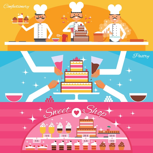 Süßwaren-banner eingestellt Kostenlosen Vektoren