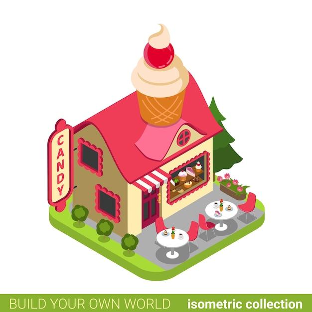 Süßwarengeschäft cupcake form gebäude cafe restaurant immobilien immobilienkonzept. Premium Vektoren