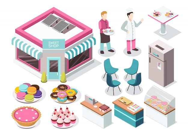 Süßwarengeschäft isometric set Kostenlosen Vektoren