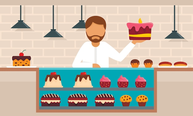 Süßwarenkonzept, flache Premium Vektoren