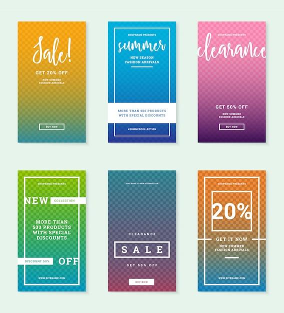 Summer fashion sale web banner für instagram beiträge. discount promo-layouts editierbare vorlagen mit platz für foto. Premium Vektoren