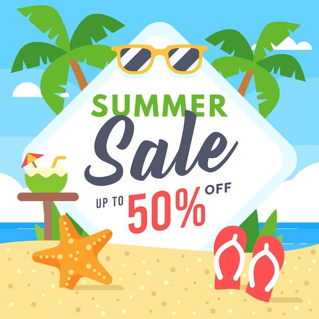 Summer sale banner für social media marketing Premium Vektoren