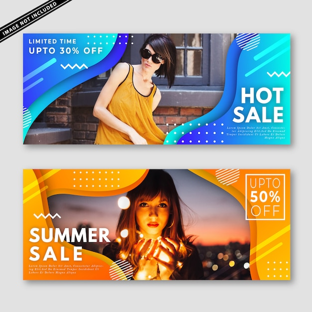 Summer sale banner kollektion Premium Vektoren