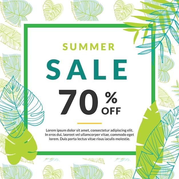 Summer Sale Banner-Vorlage mit Palmblättern Kostenlose Vektoren