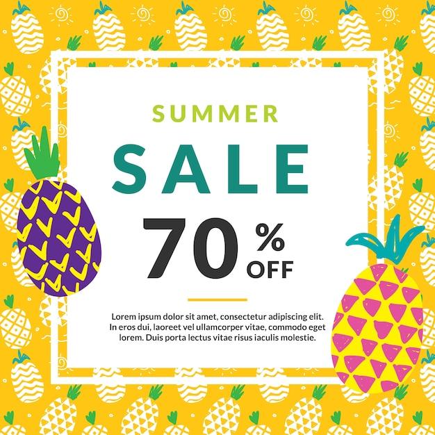 Summer Sale Design-Vorlage mit Ananas   Download der kostenlosen Vektor