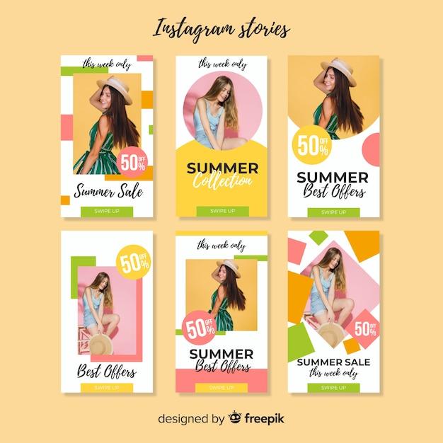 Summer sale instagram geschichten vorlage Kostenlosen Vektoren