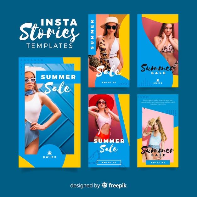 Summer sale instagram geschichten vorlagen Kostenlosen Vektoren