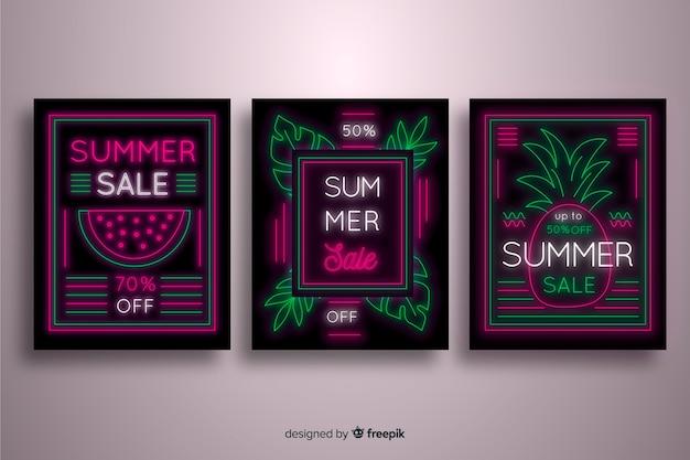 Summer sale leuchtreklame banner sammlung Kostenlosen Vektoren
