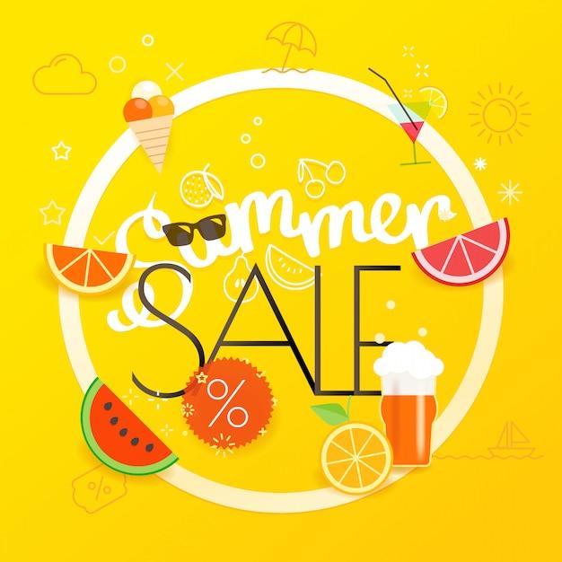 Summer sale poster Premium Vektoren