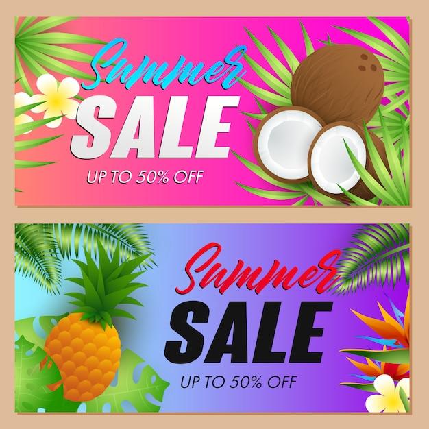 Summer sale schriftzüge set, kokosnüsse und ananas Kostenlosen Vektoren