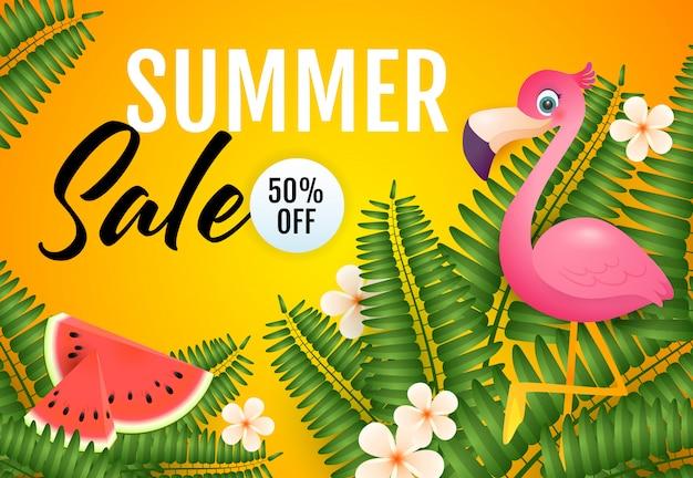 Summer sale schriftzug, flamingo, wassermelone und pflanzen Kostenlosen Vektoren