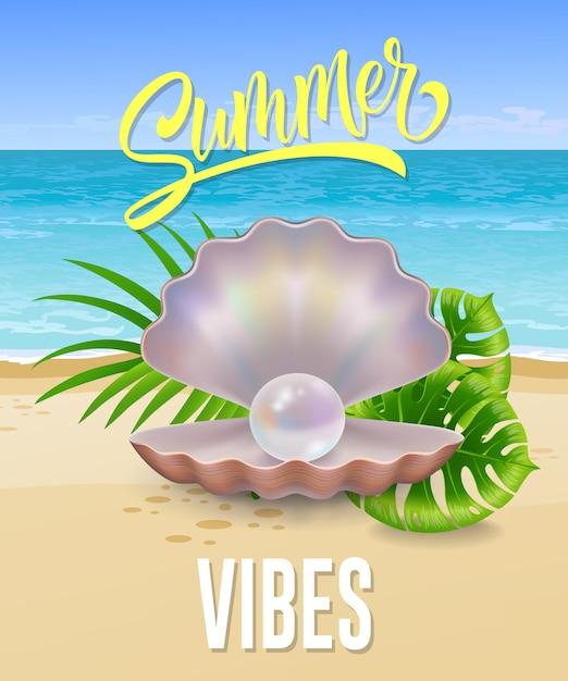 Summer vibes schriftzug mit meeresstrand und perle in der schale. sommerangebot oder verkaufswerbung Kostenlosen Vektoren