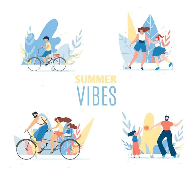 Summer vibes set mit ruhenden glücklichen familienmitgliedern Premium Vektoren