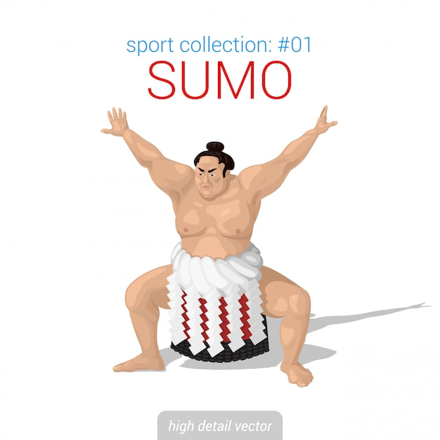 Sumo-kämpfer-abbildung. Premium Vektoren
