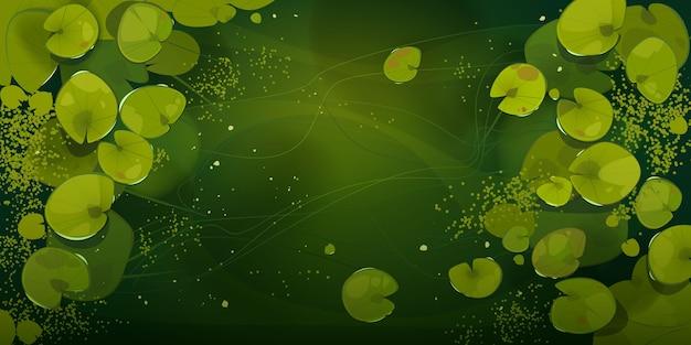 Sumpf- oder seeansicht mit nenuphars oder seerosenblättern. Kostenlosen Vektoren