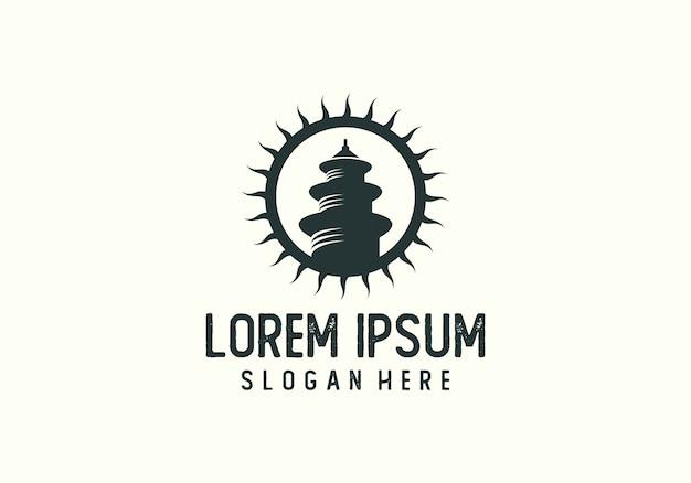 Sun-tempel-schattenbild logo vector Premium Vektoren