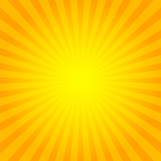 Sunburst-hintergrundorange mit gelben sonnenstrahlen. Premium Vektoren