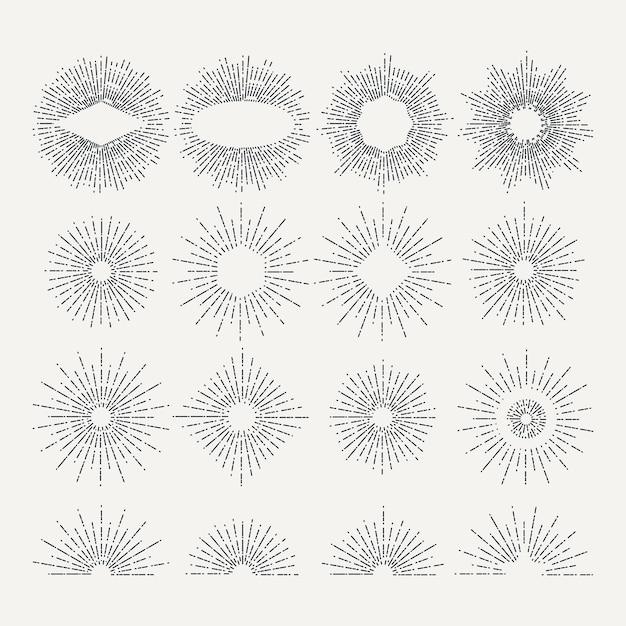 Sunburst illustrationen gesetzt. kreis formt elemente. bilder. linearer radialer vintage sunburst, satz starburst Premium Vektoren